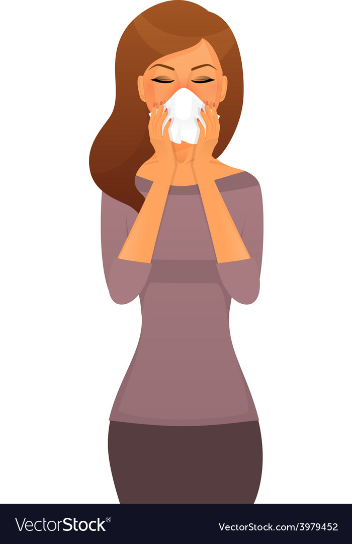 Sick woman character image vector | Price: 1 Credit (USD $1)