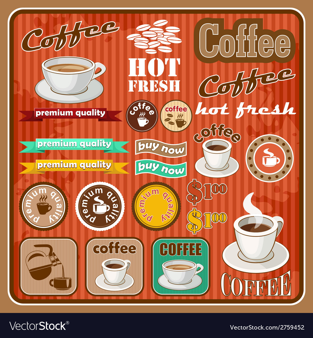 Vintage coffee and tea set icon vector | Price: 1 Credit (USD $1)
