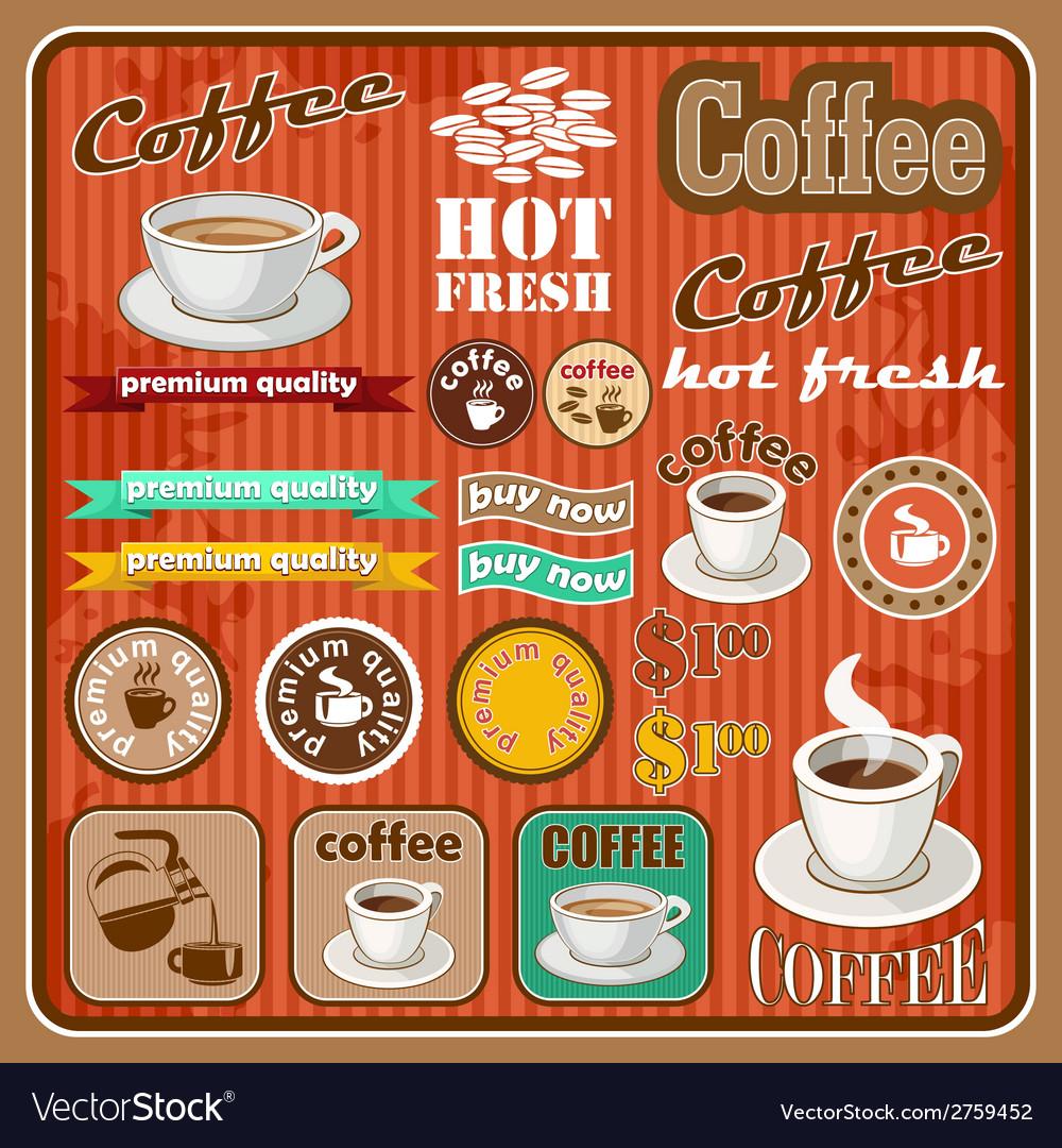 Vintage coffee and tea set icon vector | Price: 1 Credit (USD $1)
