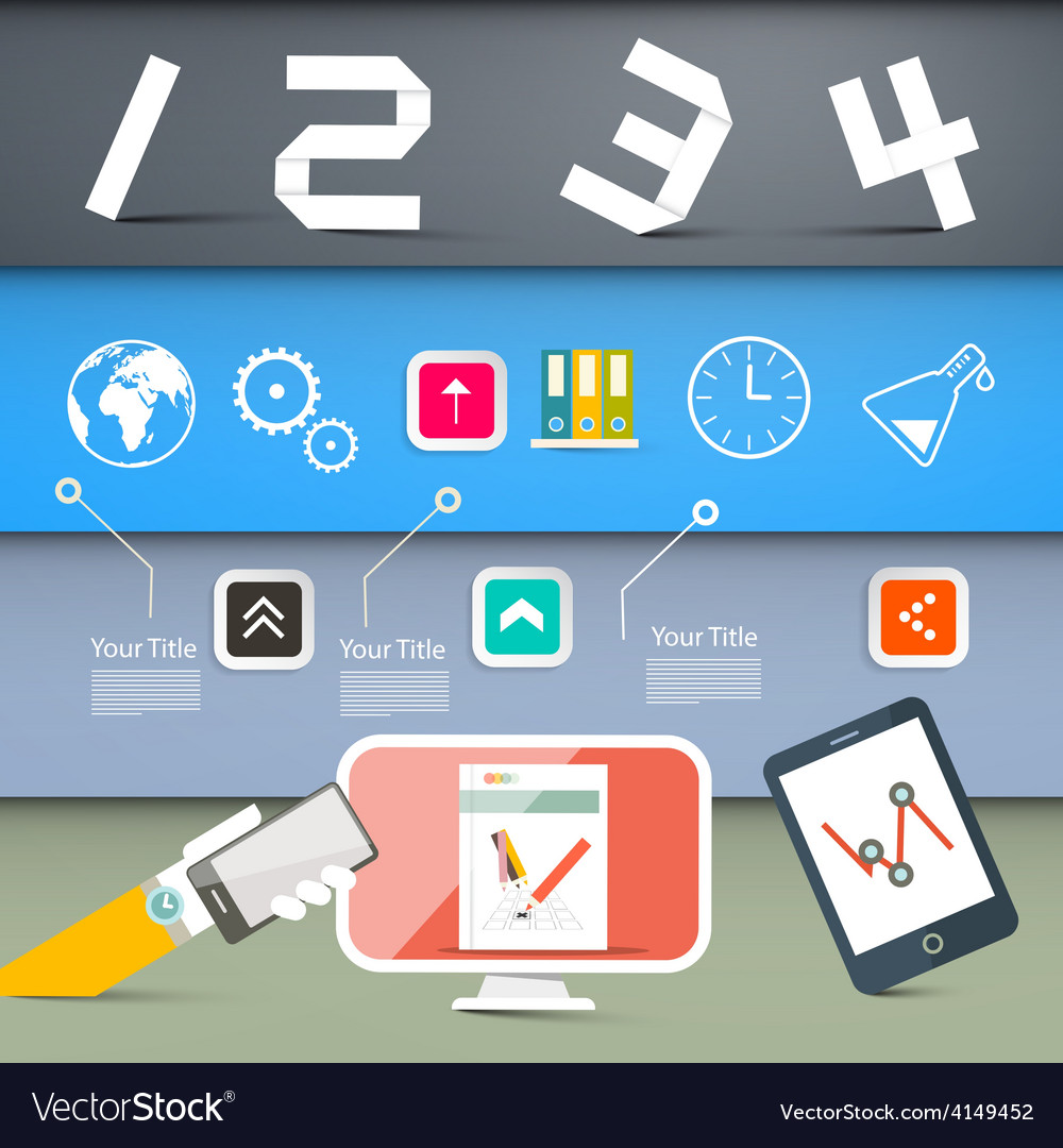 Web page layout with technology icons on colorful vector