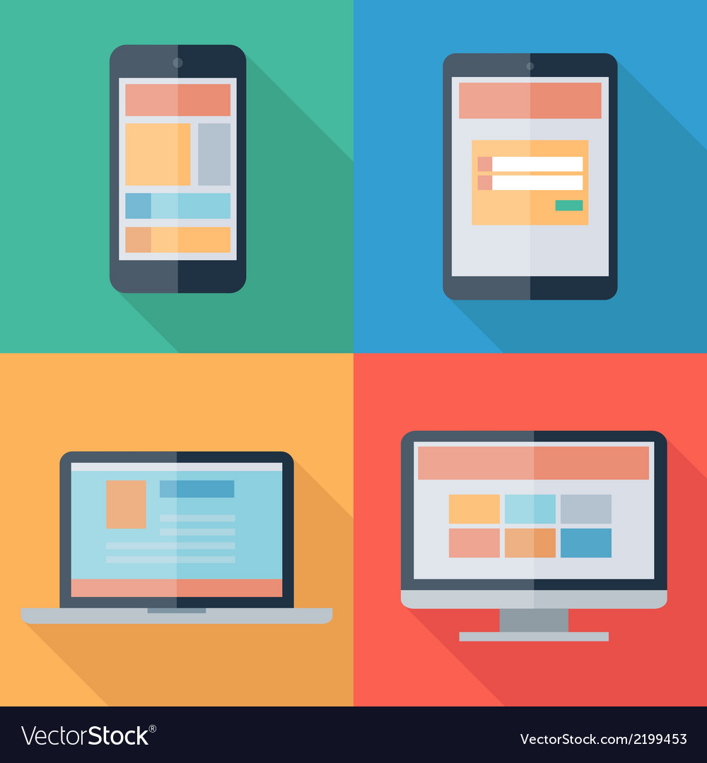 Adaptive web design on electronic devices phone vector | Price: 1 Credit (USD $1)