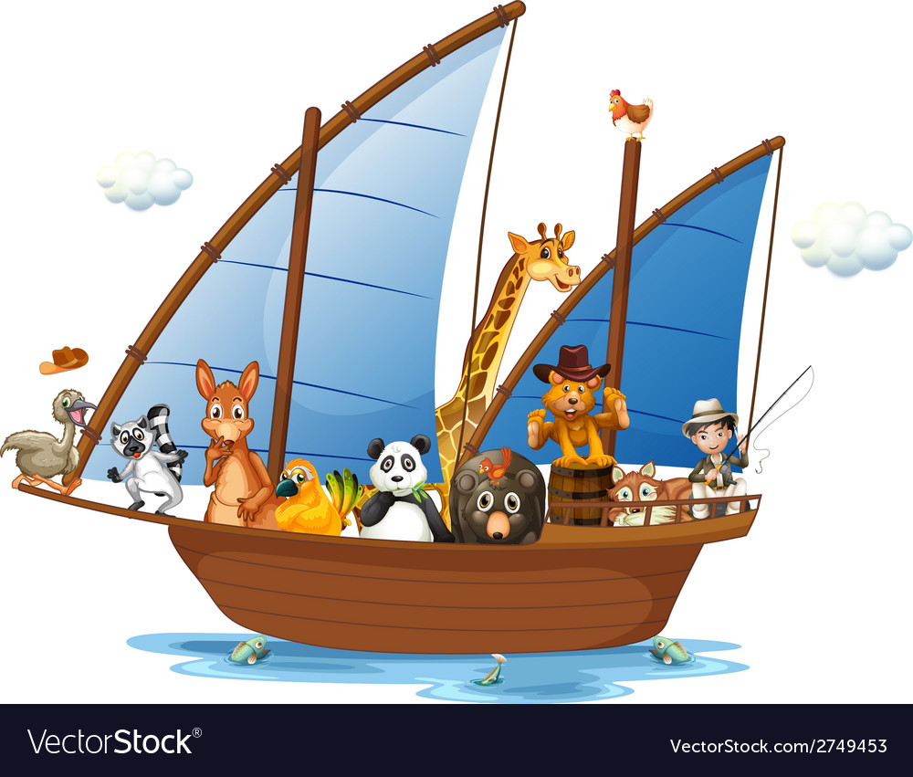 Animals on boat vector | Price: 1 Credit (USD $1)