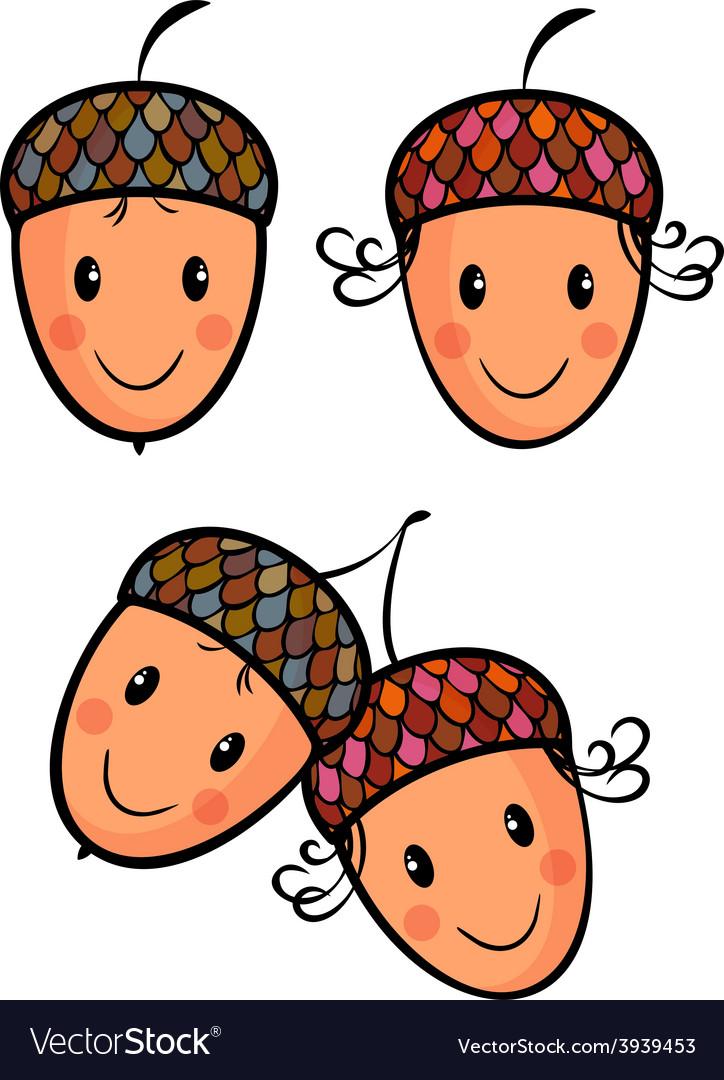 Cute cartoon acorns vector | Price: 1 Credit (USD $1)