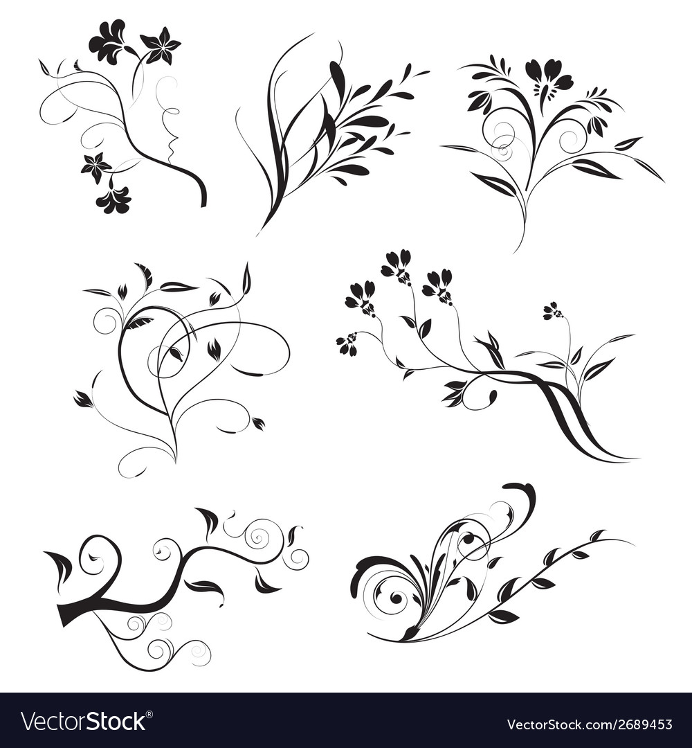 Floral elements in various styles vector | Price: 1 Credit (USD $1)