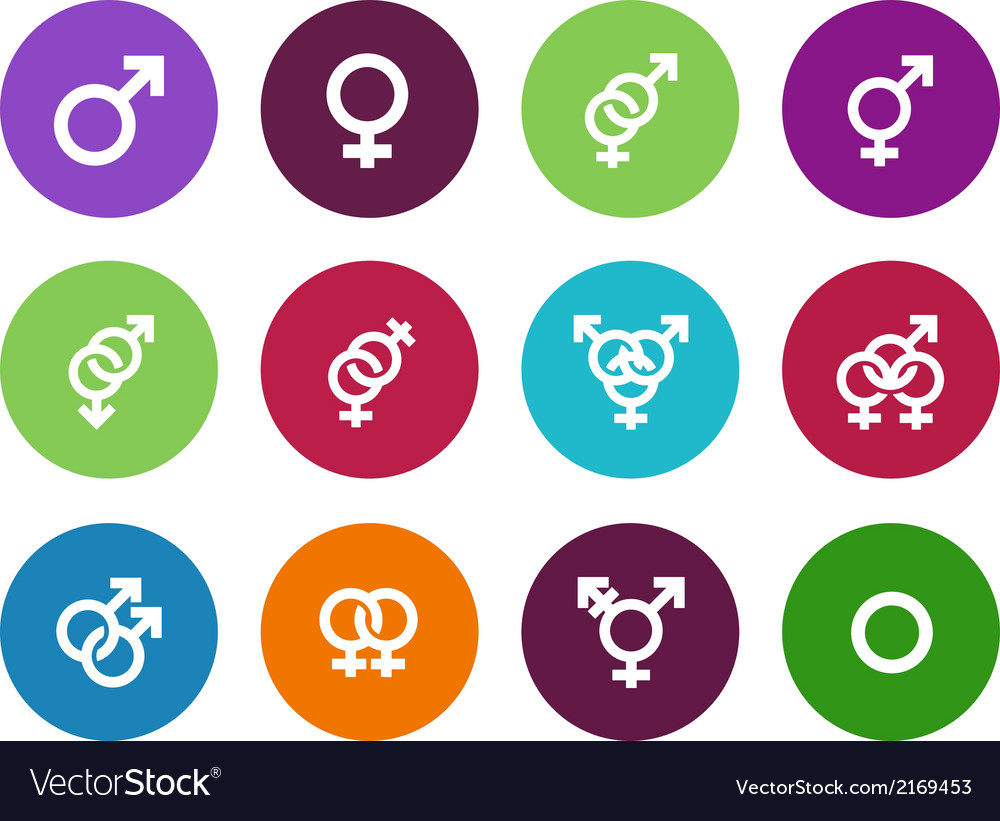 Gender identities circle icons on white background vector | Price: 1 Credit (USD $1)