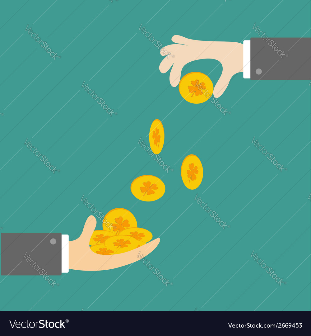 Hands giving four leaf clover gold coin flat desig vector | Price: 1 Credit (USD $1)
