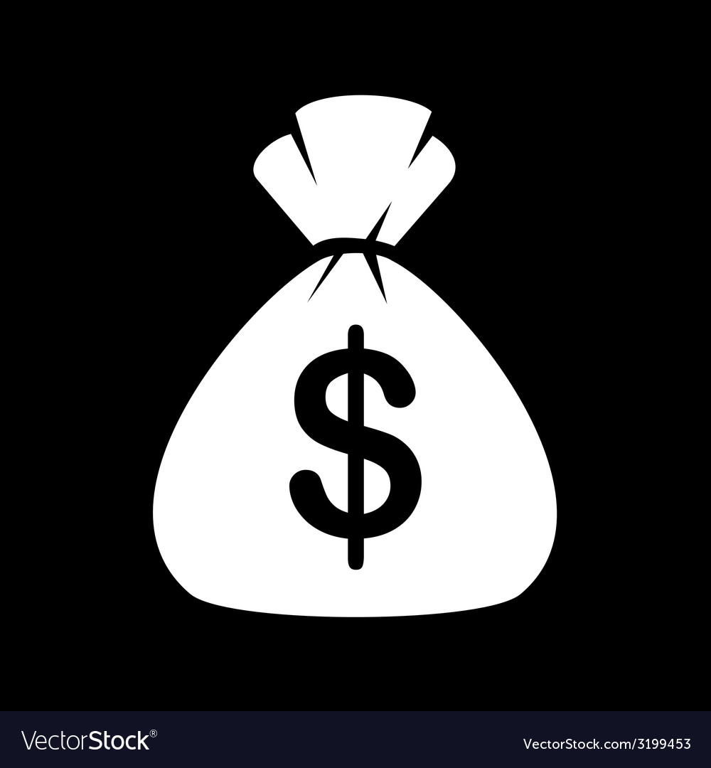 Money bag icon on black background vector | Price: 1 Credit (USD $1)