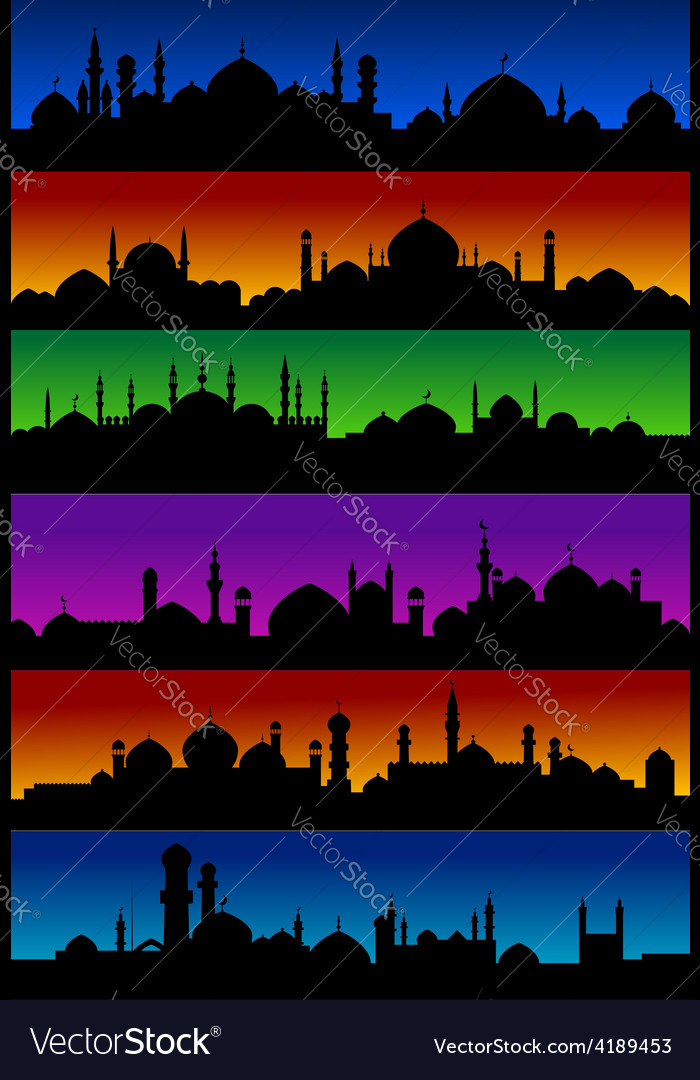 Oriental arabian city skylines with mosques vector | Price: 1 Credit (USD $1)