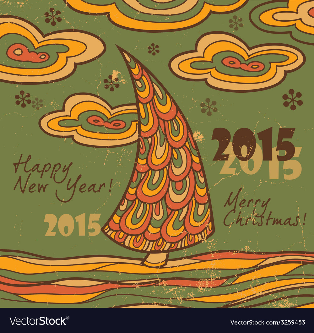 Retro greeting card 2015 with christmas tree vector | Price: 1 Credit (USD $1)