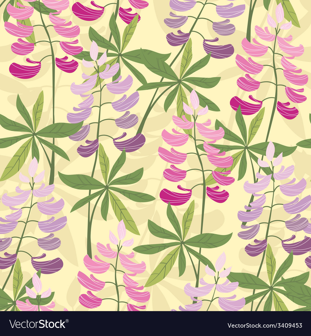 Seamless floral lupine pattern vector | Price: 1 Credit (USD $1)