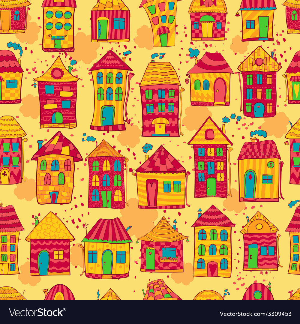 Seamless pattern colorful houses vector | Price: 1 Credit (USD $1)