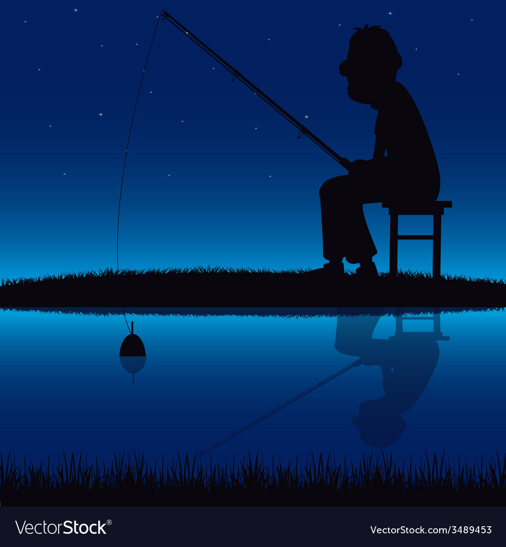 Silhouette of the fisherman beside yard vector | Price: 1 Credit (USD $1)