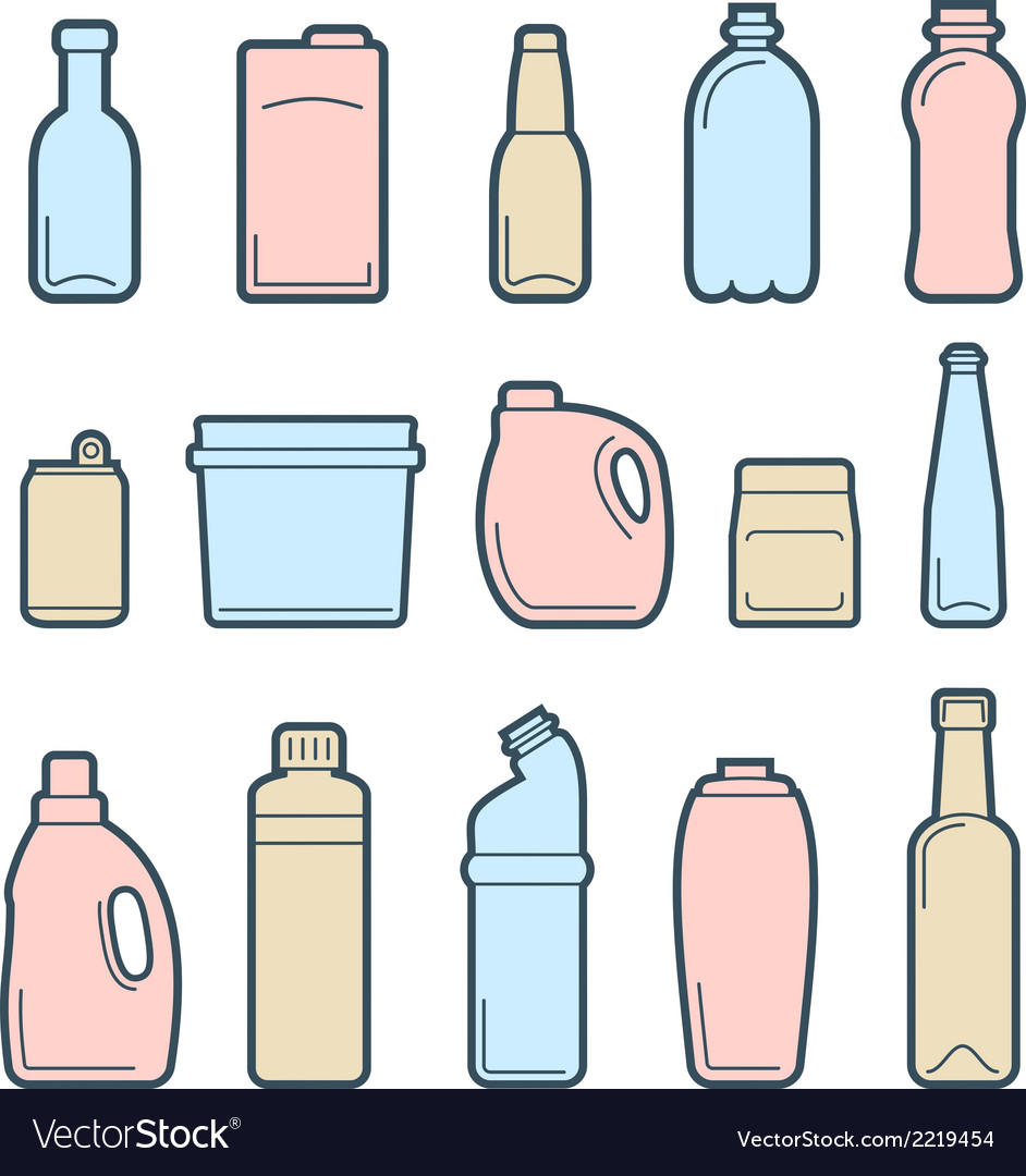 Beverage container icons vector | Price: 1 Credit (USD $1)