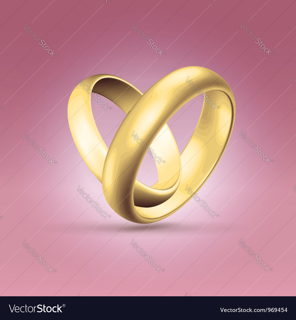 Couple of golden rings over pink vector | Price:  Credit (USD $)