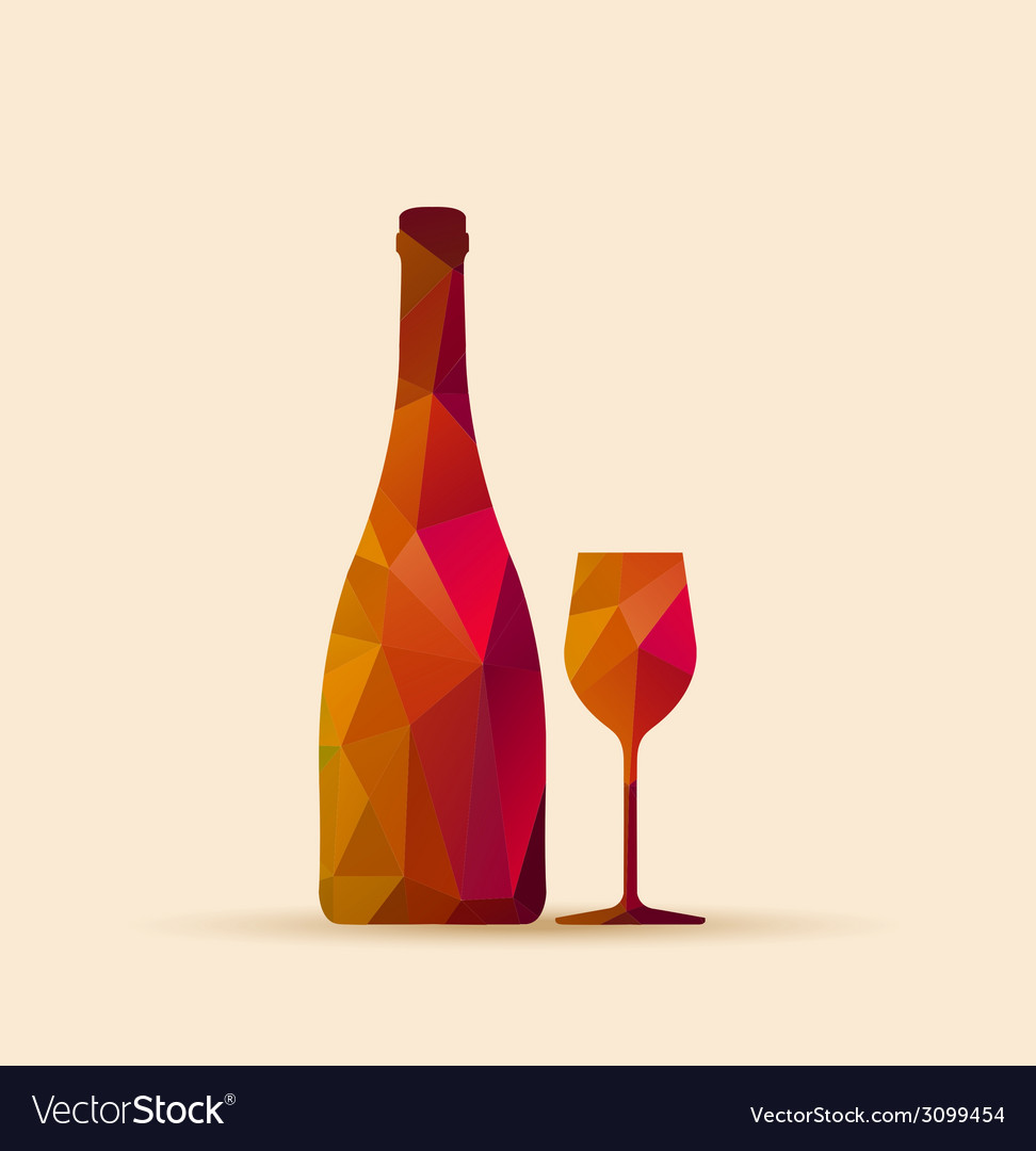 Geometric polygonal glass and bottle vector | Price: 1 Credit (USD $1)