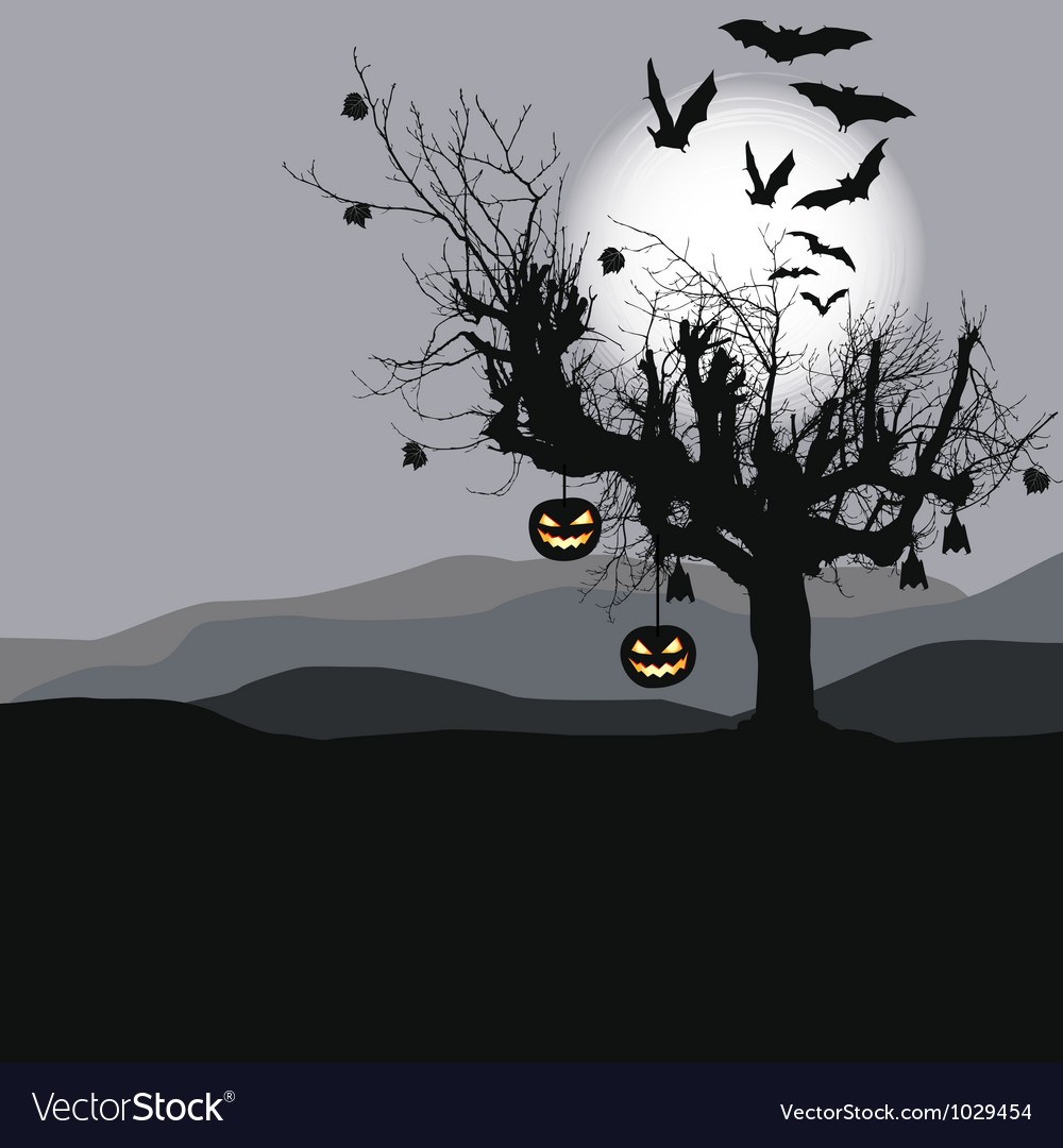 Halloween background - scary tree vector | Price: 1 Credit (USD $1)