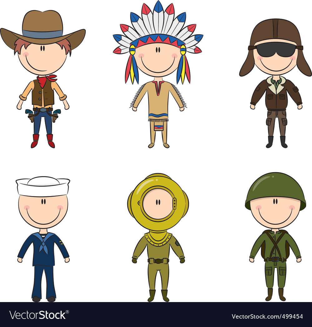 Male occupations costumes vector | Price: 3 Credit (USD $3)