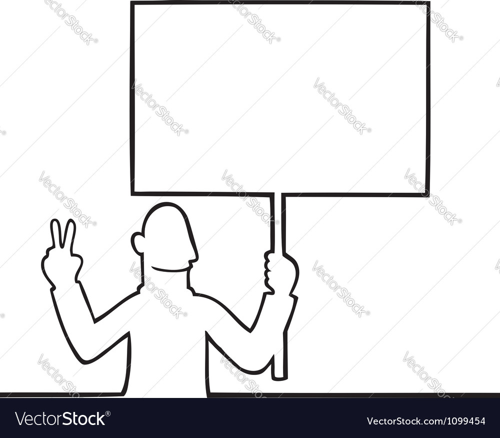 Man holding a peace protest sign vector | Price: 1 Credit (USD $1)