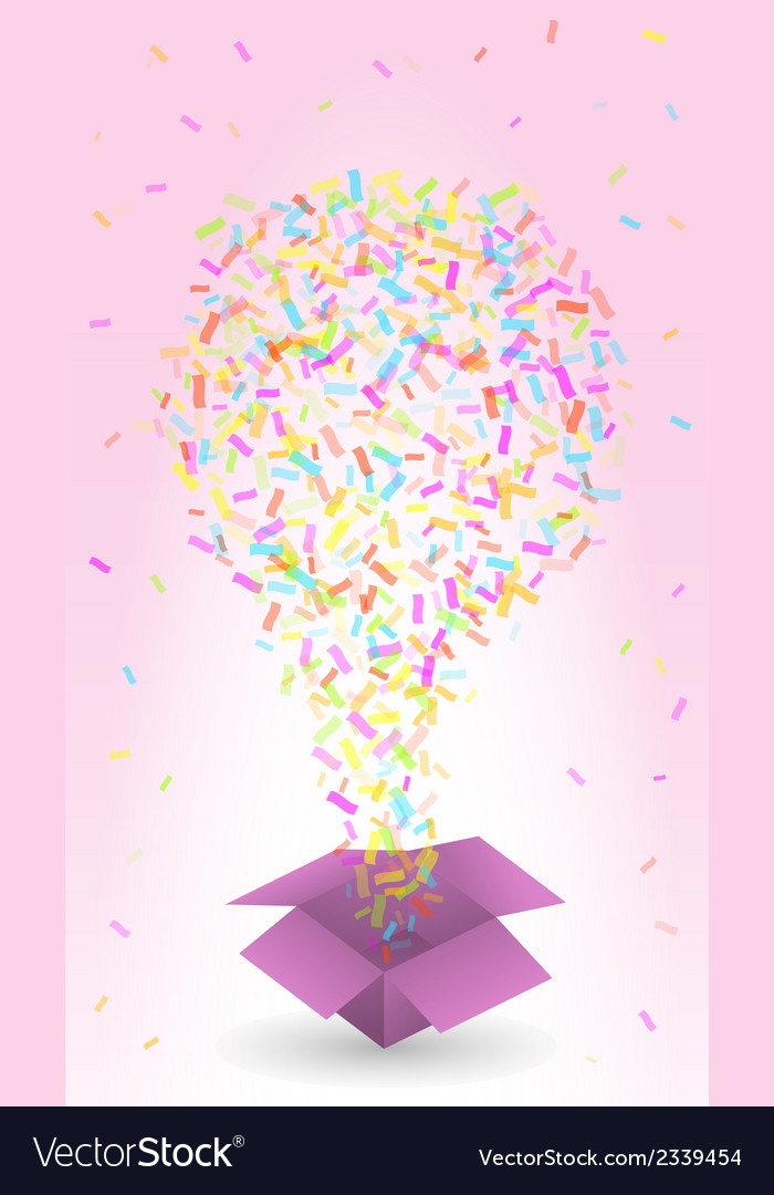 Paper box and confetti vector | Price: 1 Credit (USD $1)