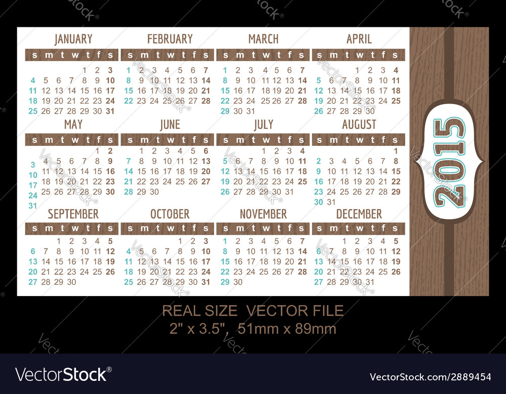 Pocket calendar 2015 start on sunday vector | Price: 1 Credit (USD $1)