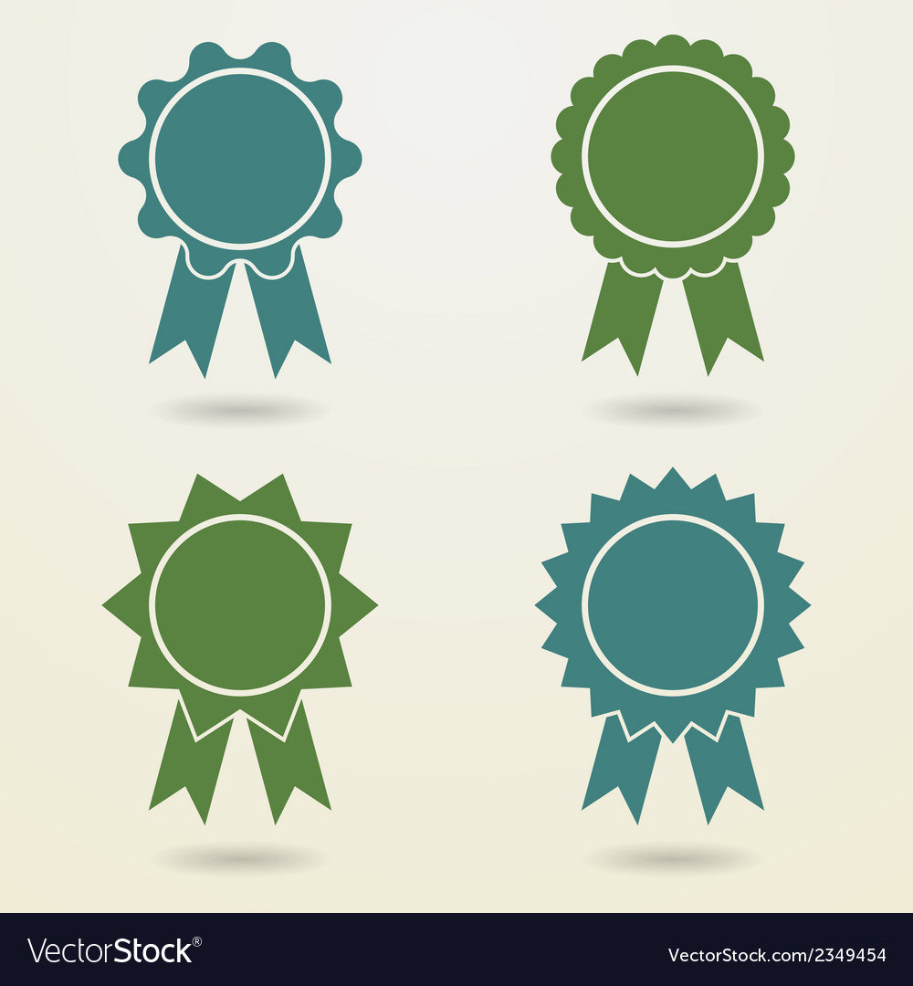 Set of empty badges with ribbons set of empty vector | Price: 1 Credit (USD $1)