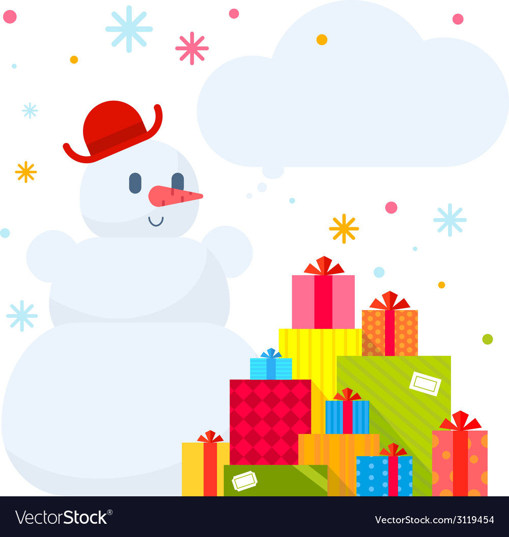 Snowman and piles of presents on whit vector | Price: 1 Credit (USD $1)