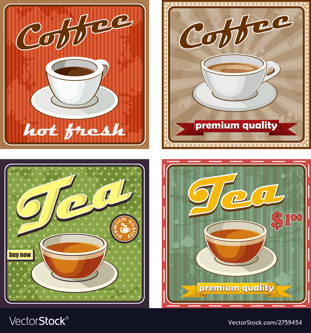 Vintage coffee and tea poster vector | Price: 1 Credit (USD $1)
