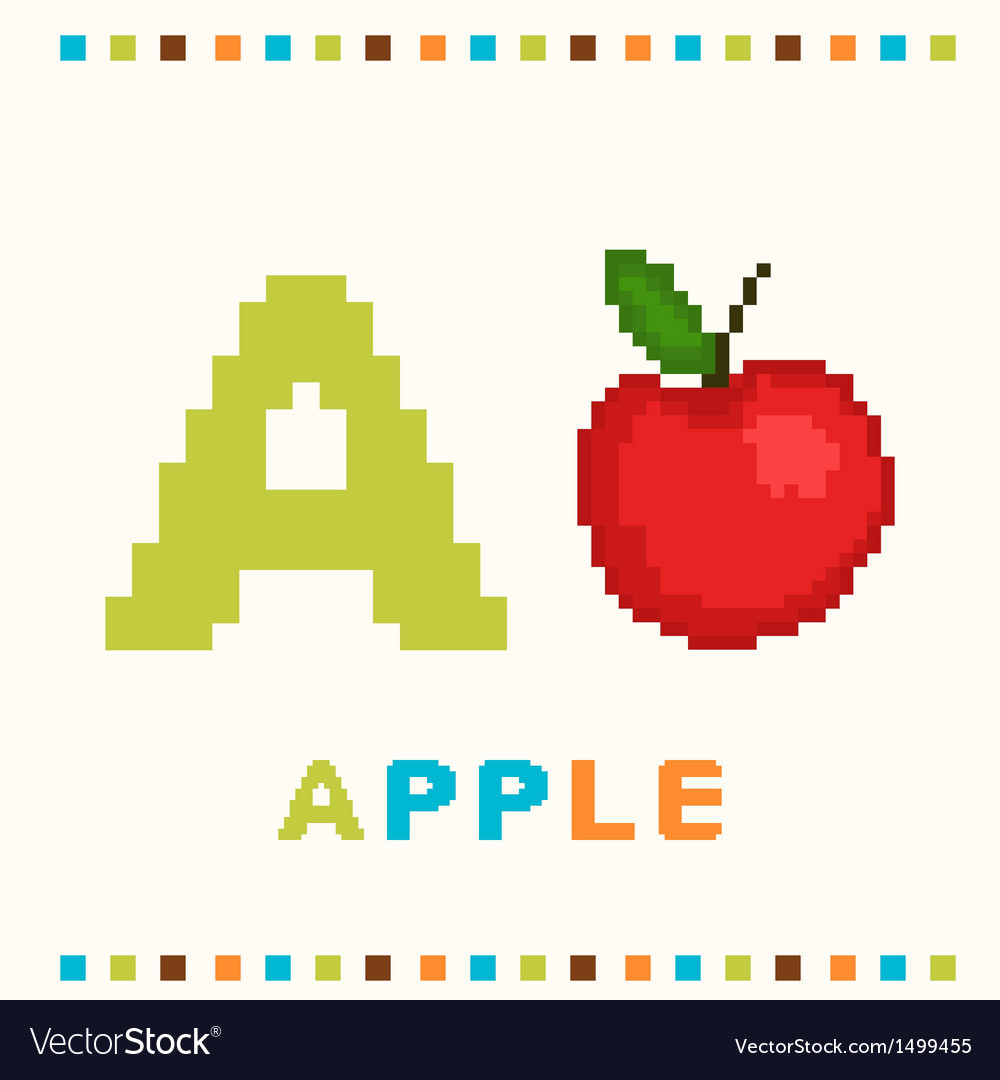 Alphabet for children letter a and an apple vector | Price: 1 Credit (USD $1)
