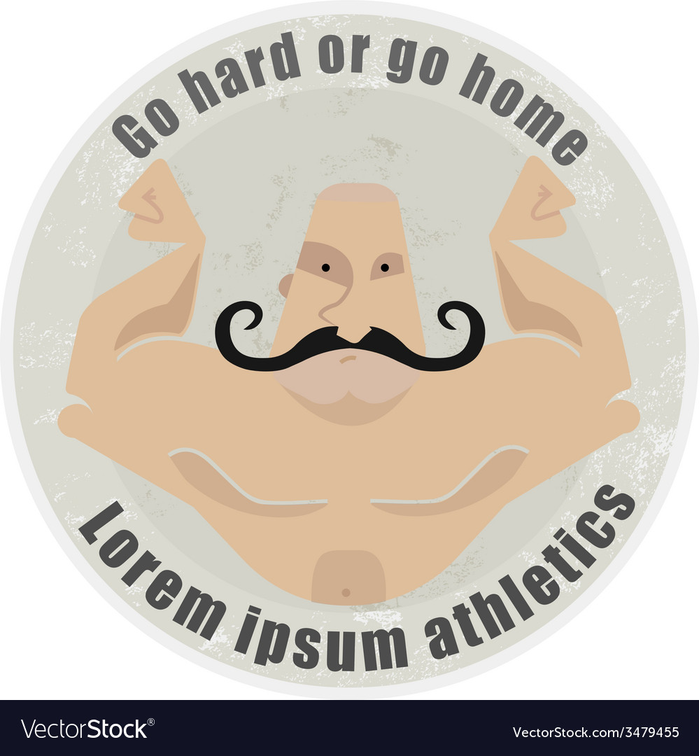 Athletic emblem with mustached bodybuilder torso vector | Price: 1 Credit (USD $1)