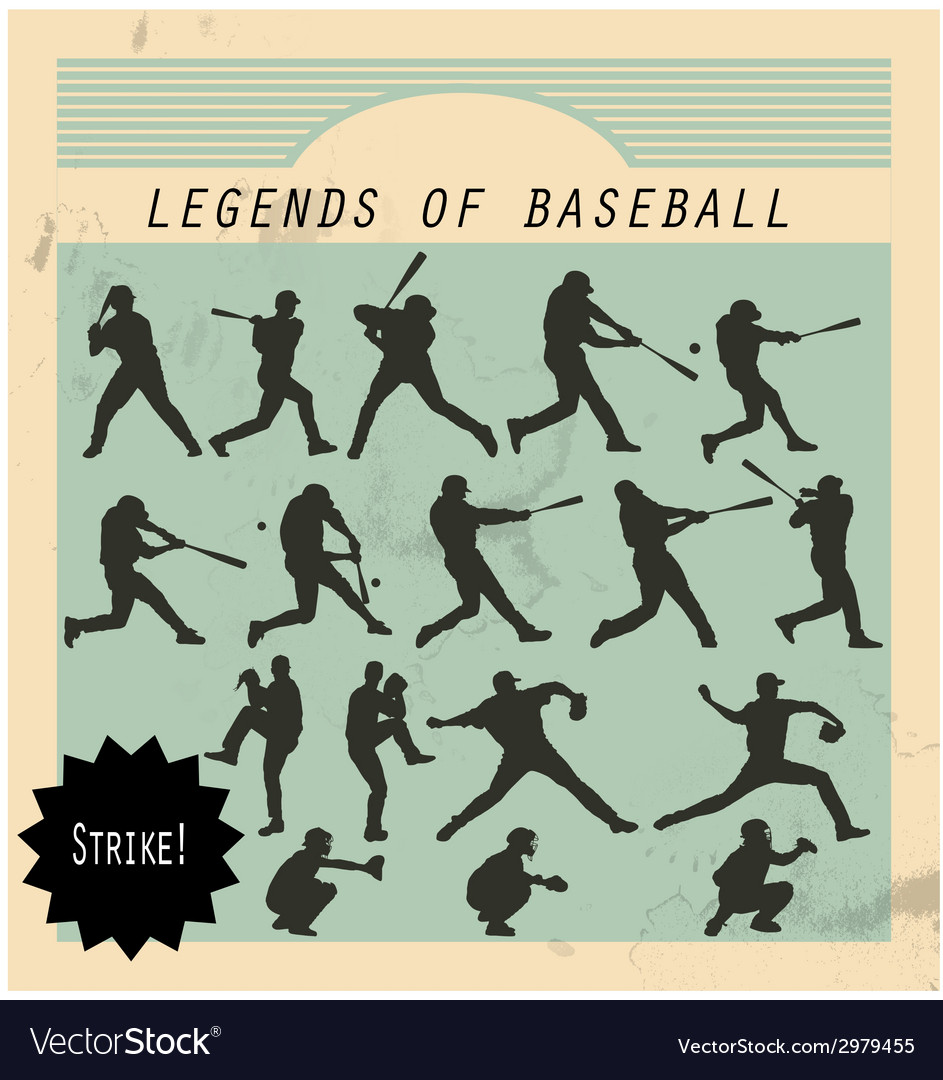Ballplayer - silhouettes of baseball players on vector | Price: 1 Credit (USD $1)