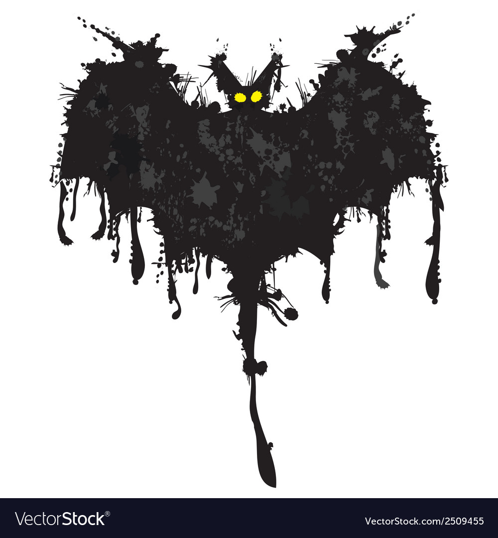 Bat ink happy halloween vector | Price: 1 Credit (USD $1)