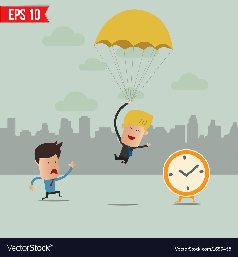 Business man drop on parachute and follow the vector | Price: 1 Credit (USD $1)