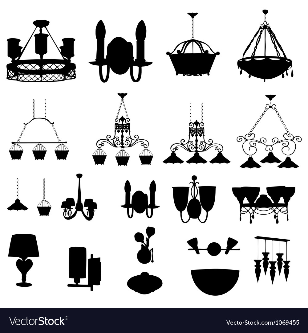 Chandelier silhouette vector | Price: 1 Credit (USD $1)