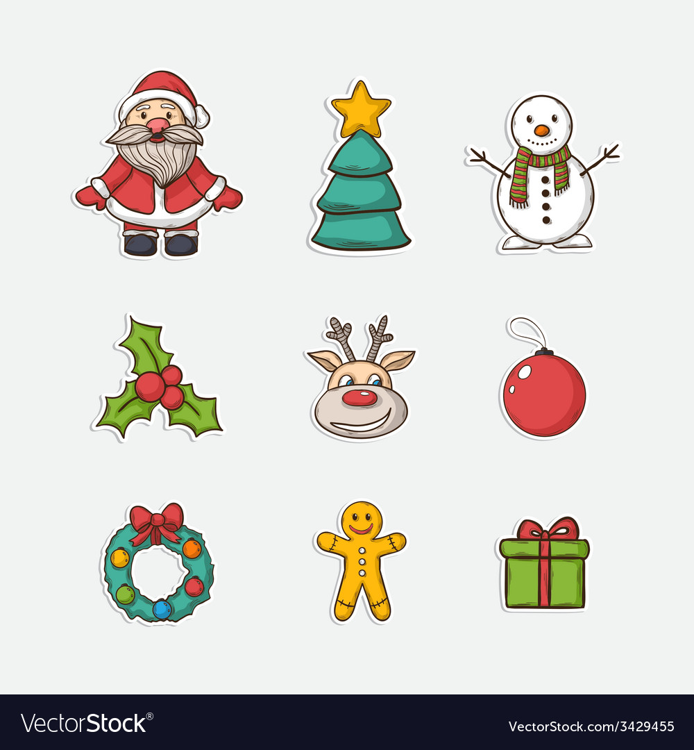 Christmas set icons vector | Price: 1 Credit (USD $1)