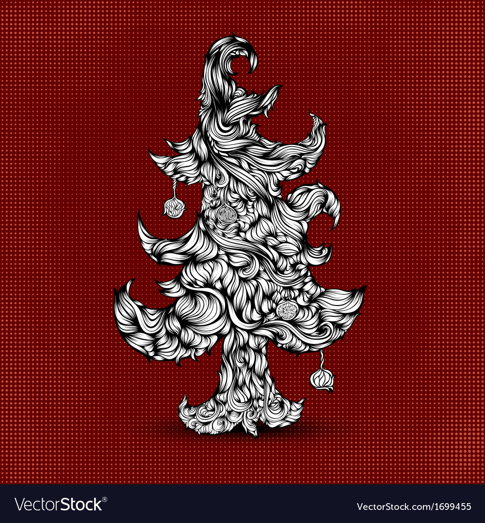 Christmas tree made of hair beautiful greeting vector | Price: 1 Credit (USD $1)
