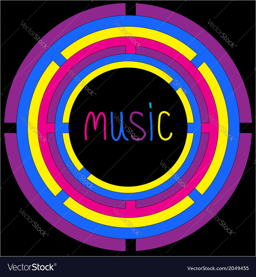Colorful circles and word music card vector | Price: 1 Credit (USD $1)