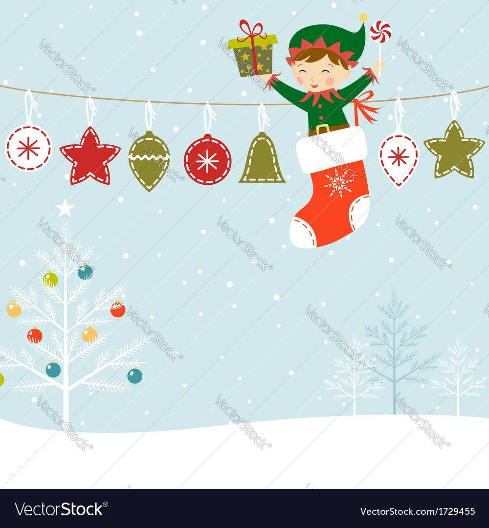 Elf present vector | Price: 1 Credit (USD $1)