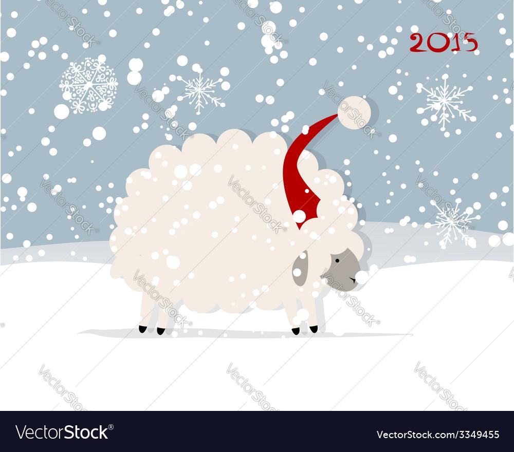 Funny sheep santa symbol of new year 2015 vector | Price: 1 Credit (USD $1)