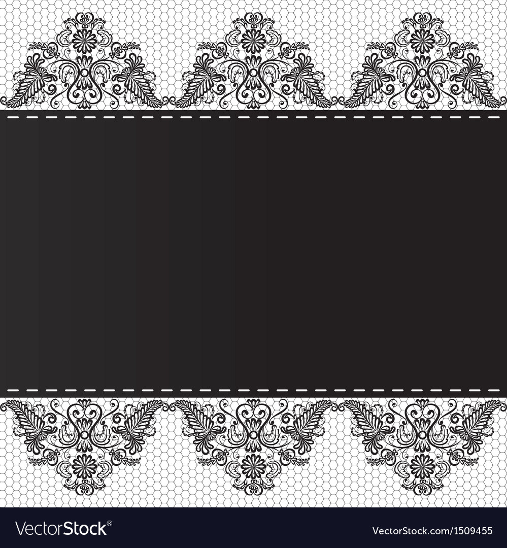 Lace floral border on white background vector | Price: 1 Credit (USD $1)
