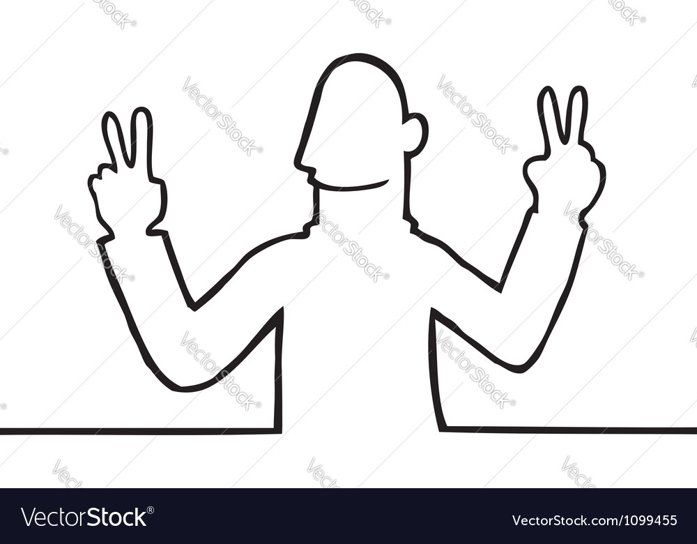 Man showing peace sign vector | Price: 1 Credit (USD $1)