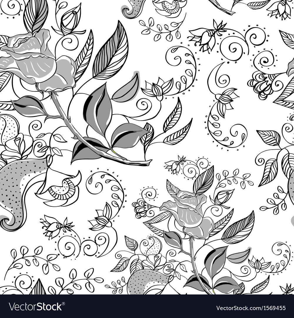 Seamless monochrome floral background vector   Price: 1 Credit (USD $1)