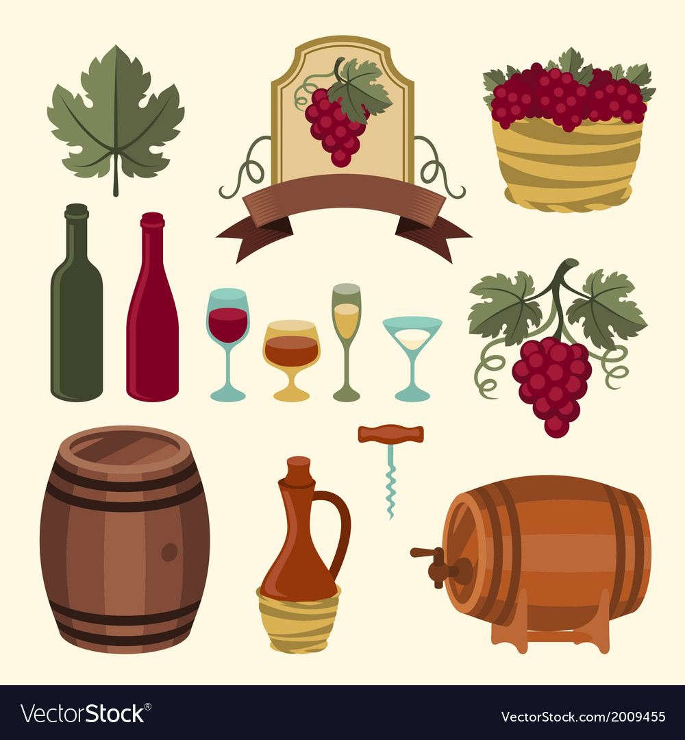 Set of wine icons elements and objects vector | Price: 1 Credit (USD $1)