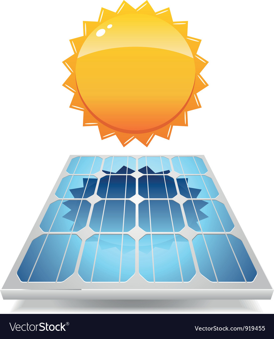 Solar panel with sun vector | Price: 3 Credit (USD $3)