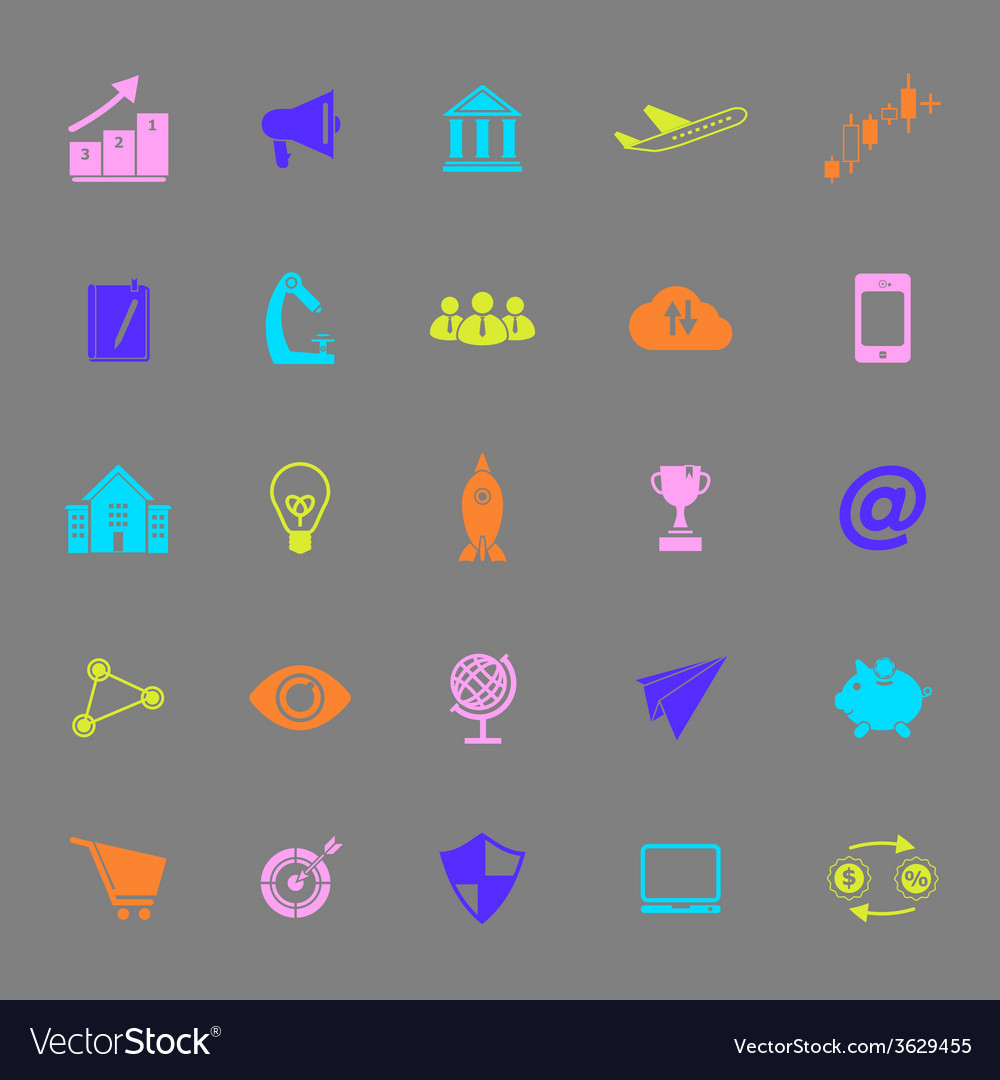 Startup business color icons on gray background vector | Price: 1 Credit (USD $1)
