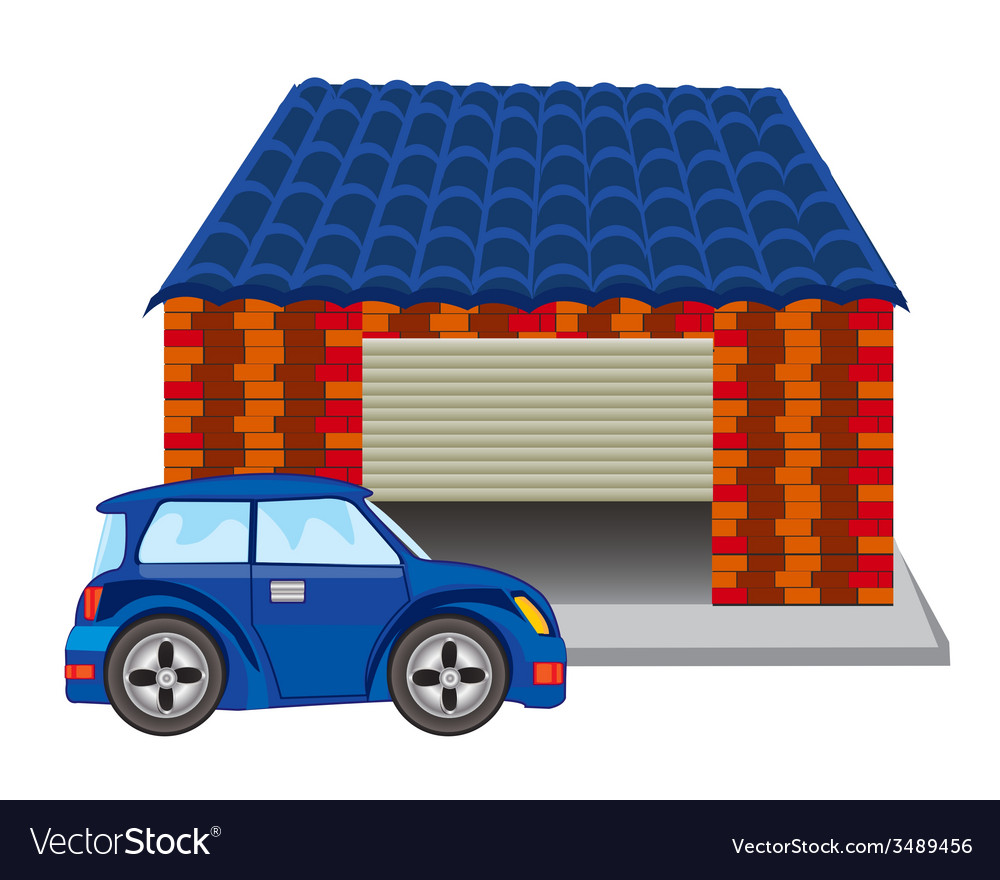 Car near garage vector | Price: 1 Credit (USD $1)
