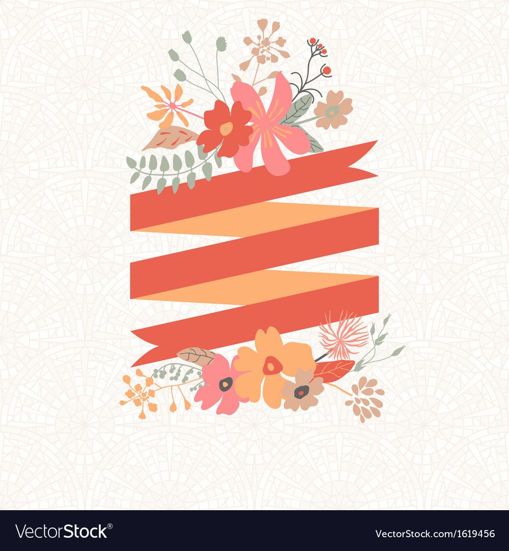 Floral bouquet with stripe for text vector | Price: 1 Credit (USD $1)