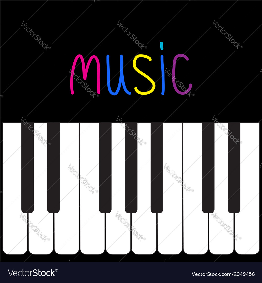 Piano keys and colorful word music card vector | Price: 1 Credit (USD $1)