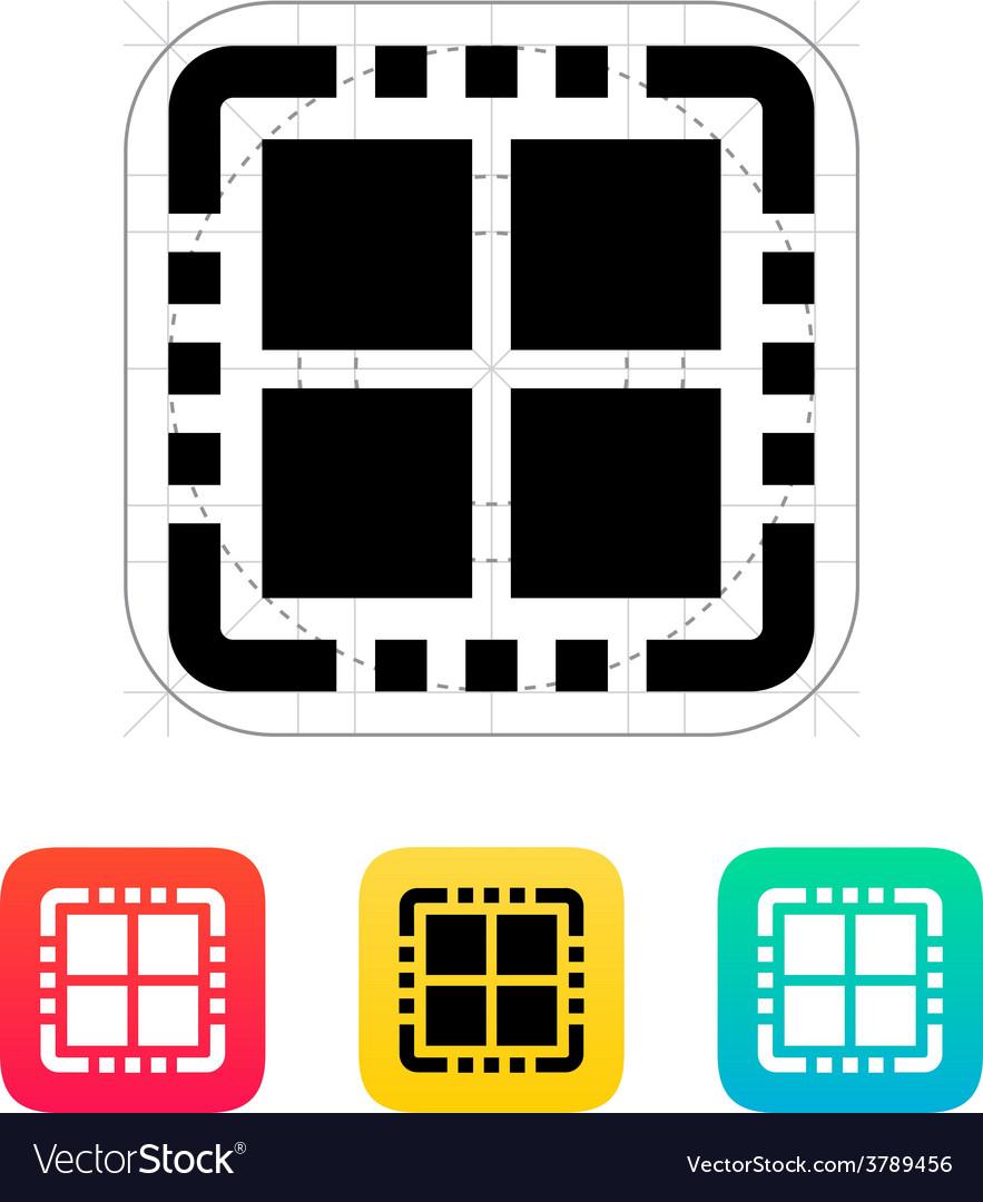 Quad core cpu icon vector | Price: 1 Credit (USD $1)