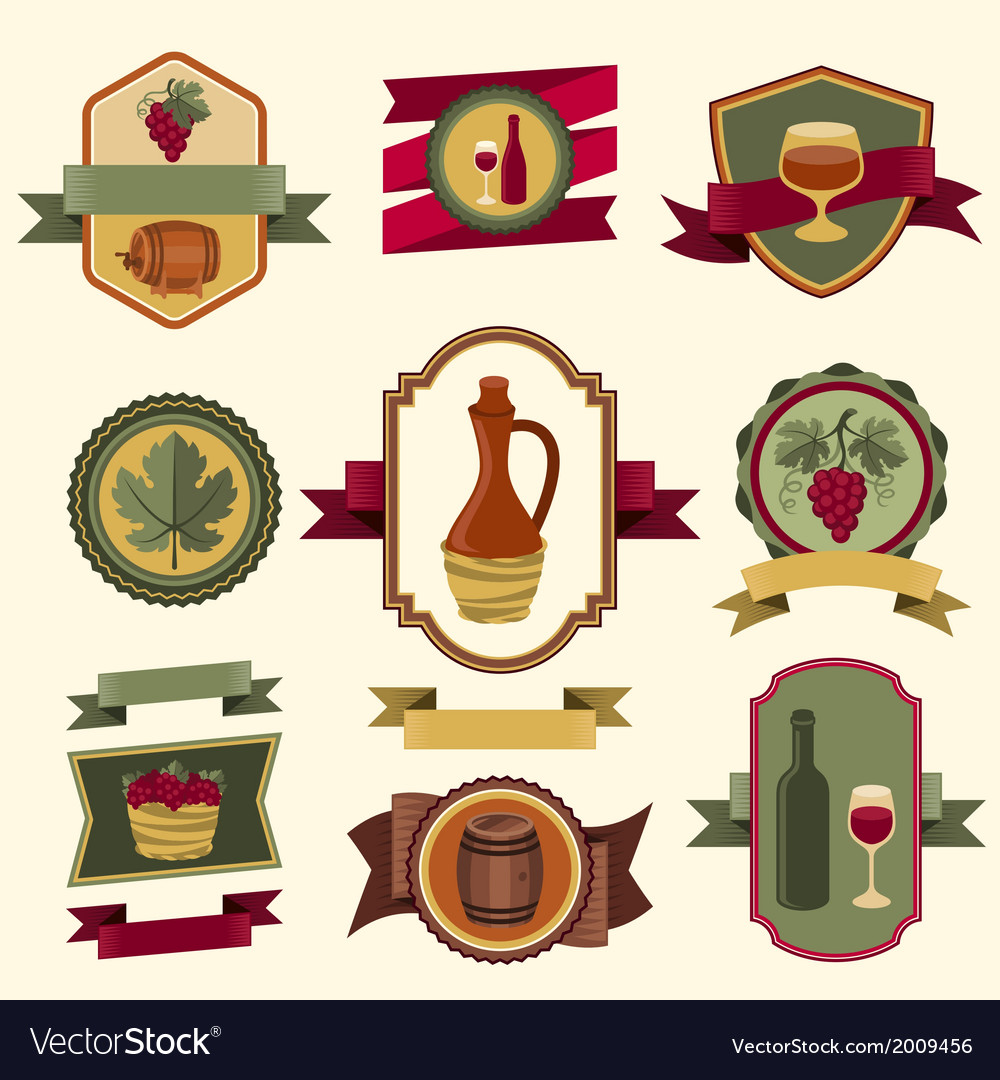 Set of wine labels badges and elements vector | Price: 1 Credit (USD $1)