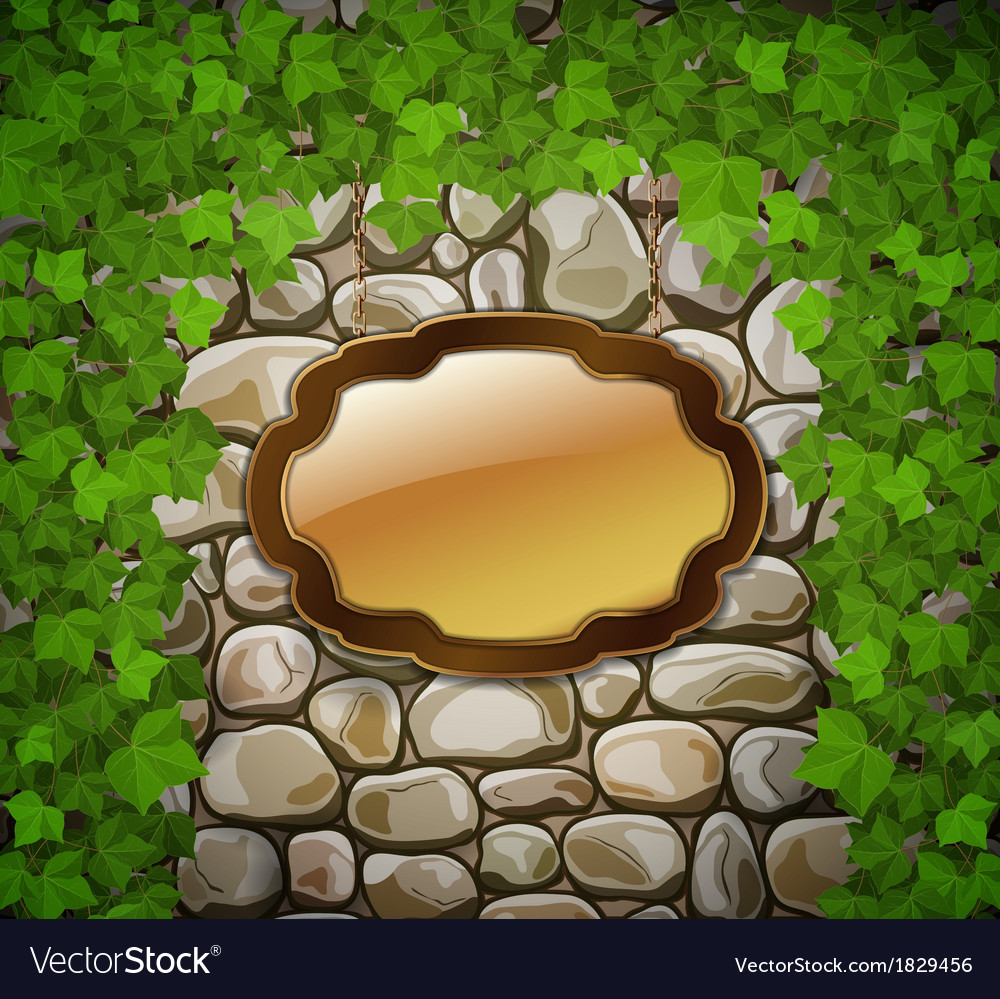 Stone wall with shield and leaves vector | Price: 1 Credit (USD $1)